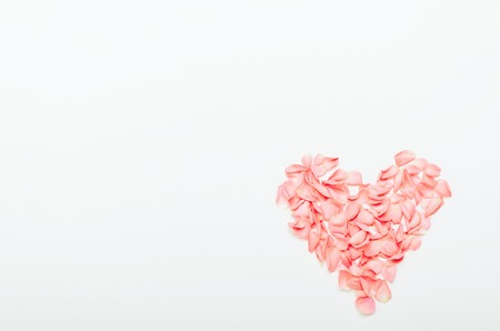 The composition heart shaped coral petals on white background. Floral background for the holiday Womens Day, Valentines, Mothers Day. Copy space, top view, flat lay