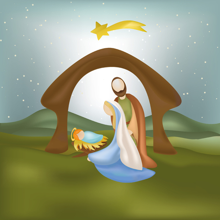 Christmas nativity scene with holy family illustration.