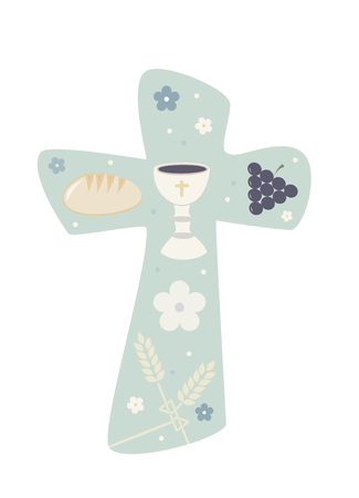 Christian cross with chalky bread and wheat illustration. Stock Illustratie