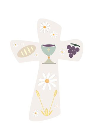 キリスト教の十字架と杯のパンと小麦のイラスト。