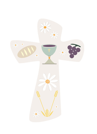 Christian cross with chalice bread and wheat illustration.