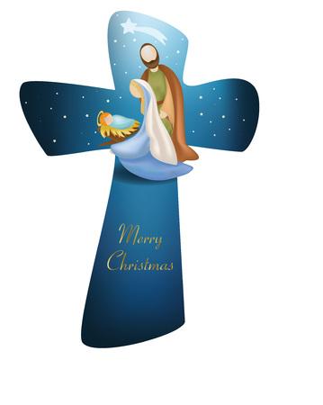 Kruis Kerstmis kerststal met kerstboom op blauwe achtergrond