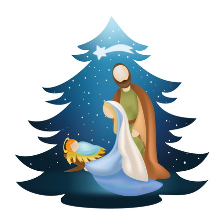 Árbol de Navidad con árbol de Navidad Ilustración de vector