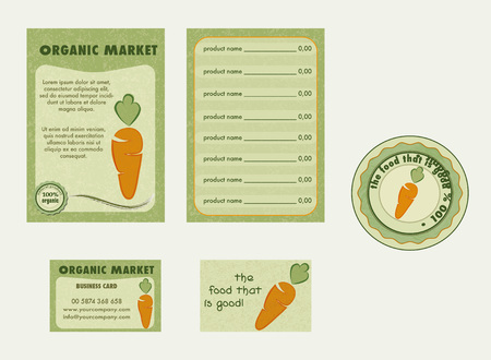Set organic logo, bio with carrot logo. Farm fresh, organic market - flyer, poster, card, label Çizim