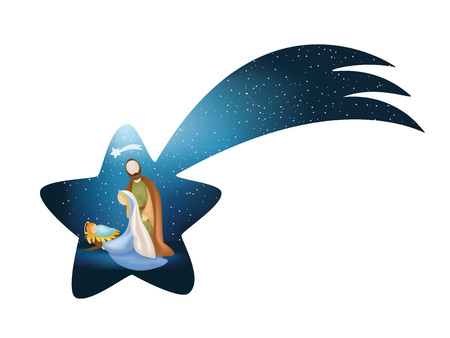 Christmas star - comet nativity scene with holy family on blue background