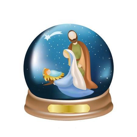 Christmas crystal ball with christian nativity scene on blue background