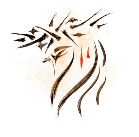 예 수 그리스도의 얼굴을 스케치 손을 그려. 기독교 그림 스톡 콘텐츠 - 90169049