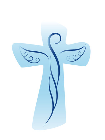 Vector cross with guardian angel Ilustracja