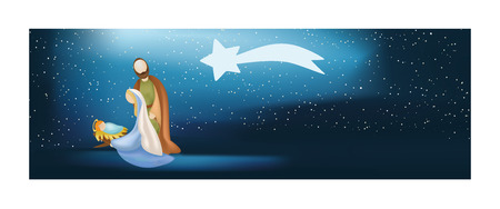 Web banner nativity scene with holy family on blue background