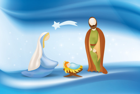 Vector christian nativity scene on elegant blue background
