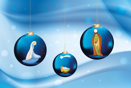 Vector christian nativity scene with Mary, Joseph, Jesus on Christmas balls on elegant blue background