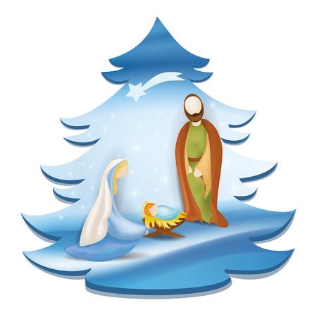 Christmas tree nativity scene with holy family - Jesus, Mary, Joseph on elegant blue background