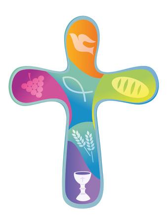 Christian cross colored various symbols