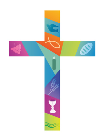Colorful christian cross with christian symbols