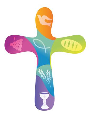 Tęczowy krzyż chrześcijański z różnymi symbolami