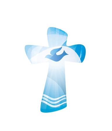 Christian cross baptism with waves and water on blue background.