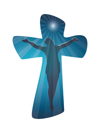 Christian cross with crucified jesus on blue background. Crucifix. Shiloutte jesus. Crucifixion. Religious sign. Multiple exposure Illustration
