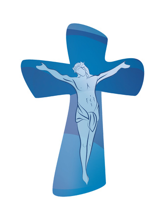 Christian cross with crucified jesus on blue background. Crucifix. Crucifixion. Religious sign. Multiple.exposure