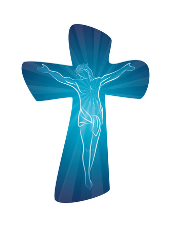 Christian cross with line art crucified jesus on blue background. Multiple exposure. Crucifix. Crucifixion. Religious sign