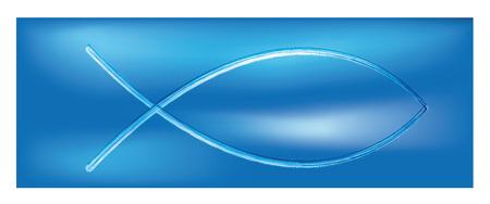 Web banner christian fish symbol.