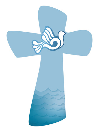 Christian cross baptism. Holy spirit symbol with where and waves of water