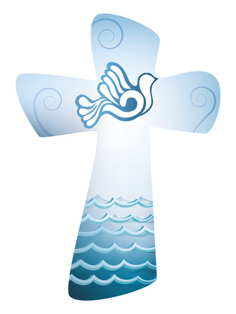 Christian cross baptism. Holy spirit symbol with where and sea 向量圖像