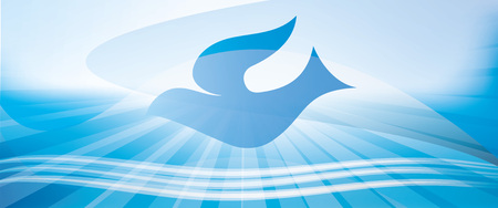 Banner Web battesimo cristiano concetto con colomba e onde d'acqua