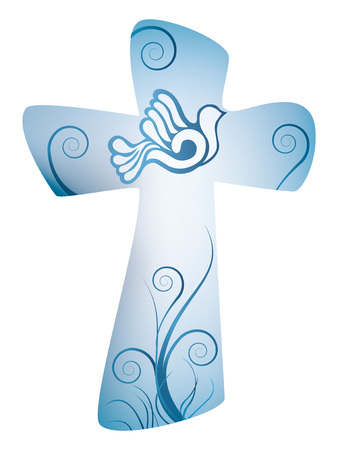 Cross christian symbol with dove Banque d'images - 100264964