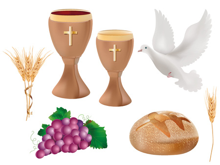 3d illustration isolated on white christian symbols: wood chalice with wine, where, grapes, bread, ear of wheat