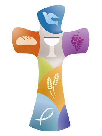 Isolated Christian symbols with golden chalice, full of wine, white where in flight, ears of wheat, grapes, bread, candle and open bible on blue background with light rays