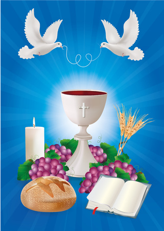 Christian symbols concept with white chalice, bread, bible, grapes, candle, where on blue background