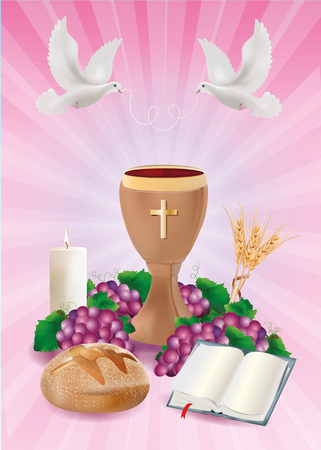Christian symbols concept with wooden chalice, bread, bible, grapes, candle, where, ears of wheat on pink background Stockfoto