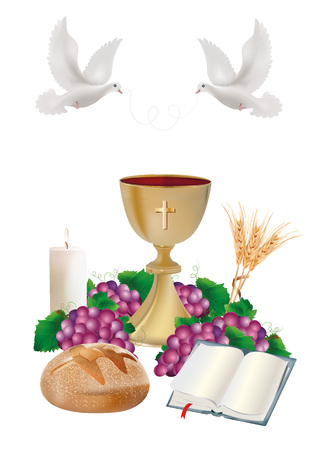 Isolated Christian symbols with golden chalice, bread, bible, grapes, candle, where, ears of wheat Stockfoto