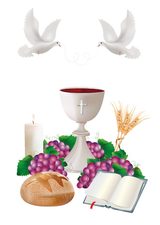 Isolated Christian symbols with white chalice, bread, bible, grapes, candle, where, ears of wheat