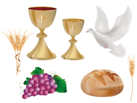 Isolated christian symbols: golden chalice with wine, where, grapes, bread, ear of wheat. 3D realistic illustration
