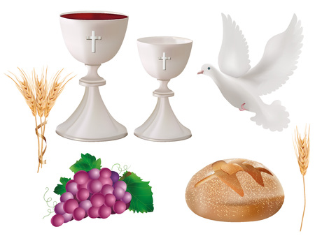 Isolated christian symbols: white chalice with wine, where, grapes, bread, ears of wheat. 3D realistic illustration