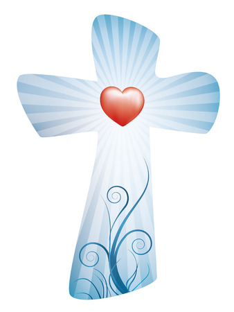 Christian cross with rays and red heart Banque d'images - 100273311