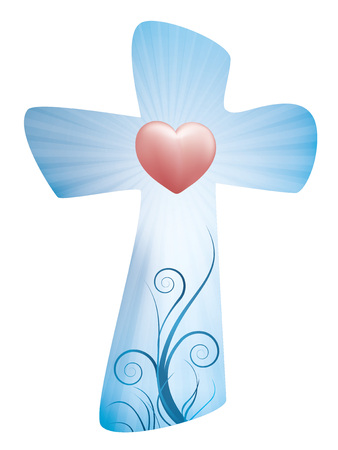 Christian cross with rays and heart Banque d'images - 100273315