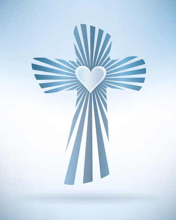 Abstract christian cross with rays and heart Banque d'images - 100475984