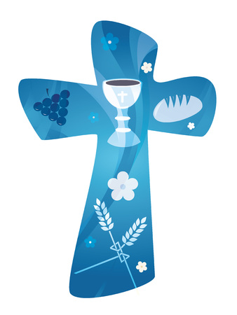 Christian cross with chalice grapes and wheat bread ear. Banque d'images - 100475983