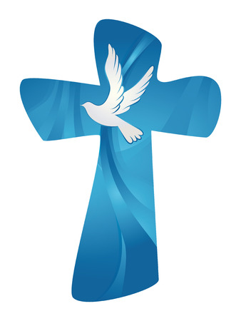 Vector christian cross. Abstract Holy Spirit with dove on blue background