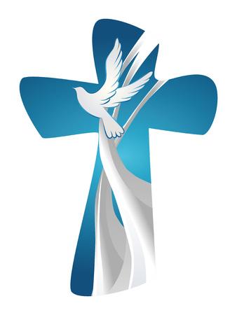 Symbole de croix chrétienne abstraite Saint-Esprit avec colombe sur fond bleu