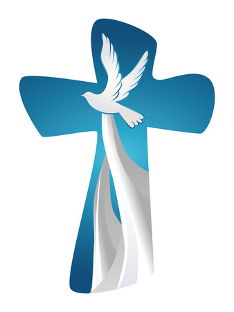 Abstract Holy Spirit symbol with dove on blue background. Christian cross 矢量图像