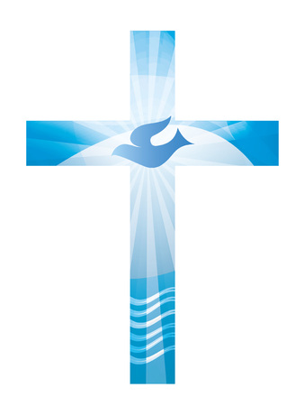 Baptism Christian cross with waves and blue sky. Religious sign