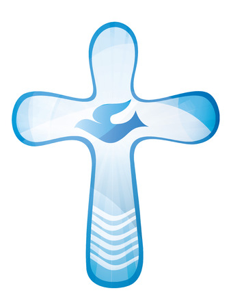Baptism Christian cross with waves and blue sky. Religious sign. isolated Banque d'images - 100273322