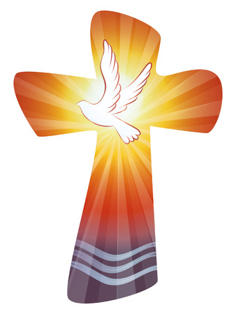 Croce cristiana con onde d'acqua e dove sullo sfondo del tramonto.