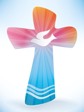 Christian cross baptism with waves and water on light background. Illustration