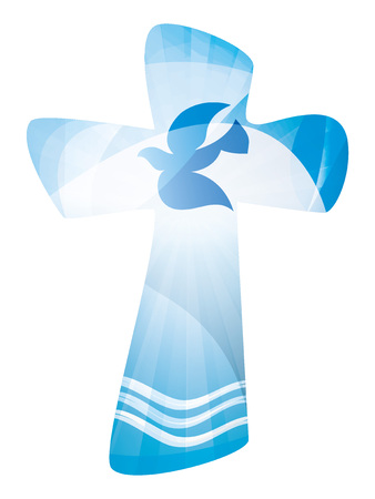 Christian cross baptism with waves of water. Multiple exposure Illustration. Illustration