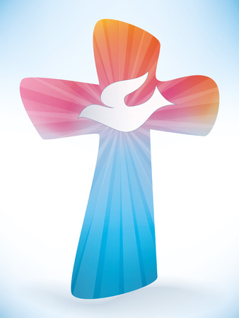 Christian cross with where. Holy spirit symbol on light background. Banque d'images - 100311760