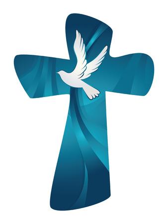 Croce cristiana. Spirito Santo astratto con colomba su priorità bassa bianca.
